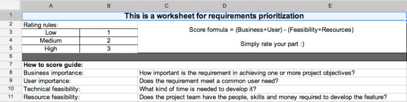 Worksheet rules